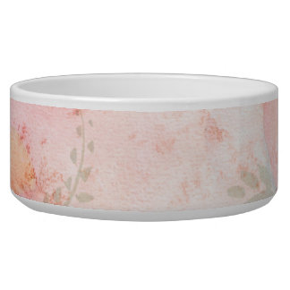 Watercolor Pink Floral Background Dog Water Bowl