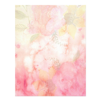 Watercolor Pink Floral Background Letterhead