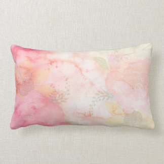 Watercolor Pink Floral Background Lumbar Pillow