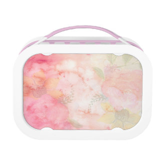 Watercolor Pink Floral Background Lunch Box