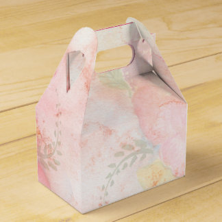 Watercolor Pink Floral Background Party Favor Boxes