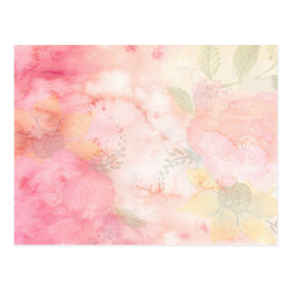 Watercolor Pink Floral Background Postcard