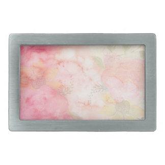 Watercolor Pink Floral Background Rectangular Belt Buckles