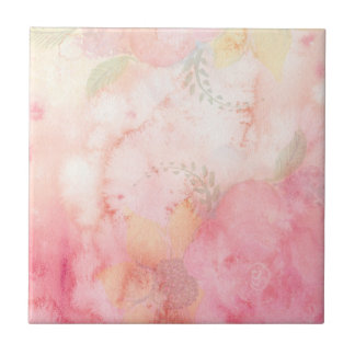 Watercolor Pink Floral Background Tile