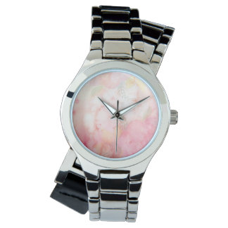 Watercolor Pink Floral Background Watches