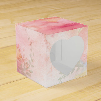 Watercolor Pink Floral Background Wedding Favor Boxes