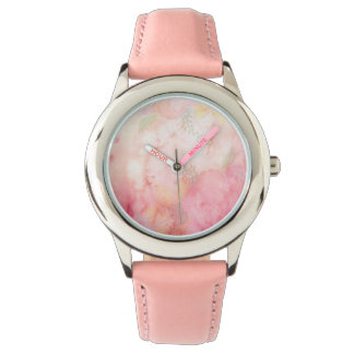 Watercolor Pink Floral Background Wrist Watch
