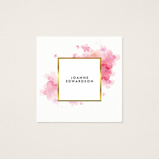 Watercolor pink floral gold frame professional square business card