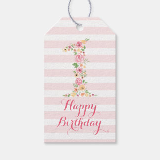 Watercolor Pink Floral One First Birthday Gift Tags