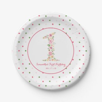 Watercolor Pink Floral One First Birthday Paper Plate
