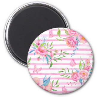 Watercolor pink floral pattern with strips 2 inch round magnet