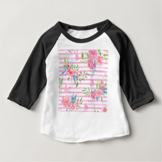 Watercolor pink floral pattern with strips baby T-Shirt