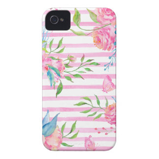 Watercolor pink floral pattern with strips Case-Mate iPhone 4 case