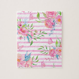Watercolor pink floral pattern with strips jigsaw puzzle