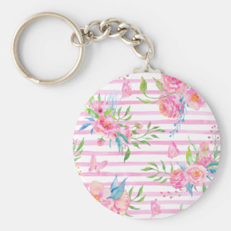 Watercolor pink floral pattern with strips keychain