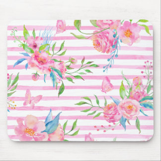 Watercolor pink floral pattern with strips mouse pad