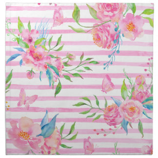 Watercolor pink floral pattern with strips napkin