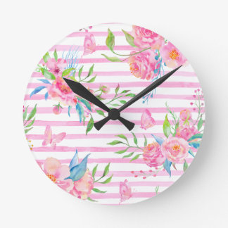 Watercolor pink floral pattern with strips round clock