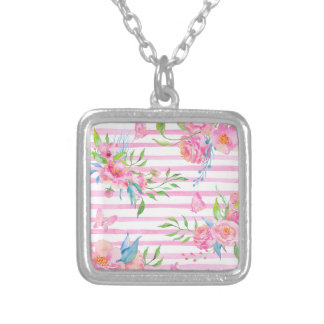 Watercolor pink floral pattern with strips silver plated necklace