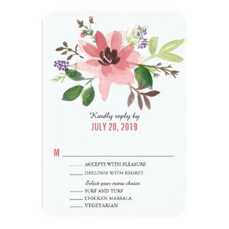 Watercolor Pink Flower Burst | Wedding RSVP Card