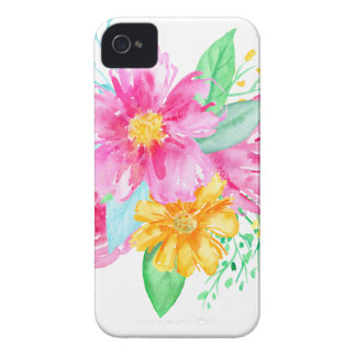 Watercolor Pink flowers Case-Mate iPhone 4 Cases