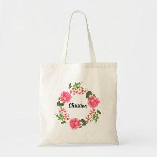 Watercolor Pink Flowers Circle Wreath Tote Bag