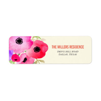 Watercolor Pink Flowers Graduate Whimsical Return Address Label