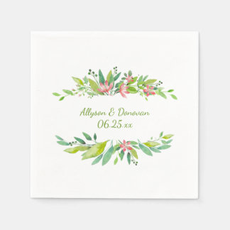 Watercolor Pink Flowers Greenery Leaves | Paper Napkin