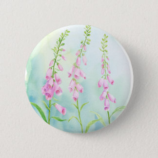 Watercolor Pink Foxgloves 2 Inch Round Button