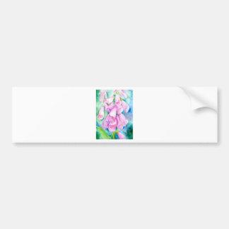 Watercolor pink foxgloves bumper sticker