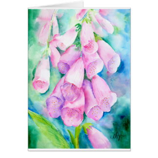 Watercolor pink foxgloves card
