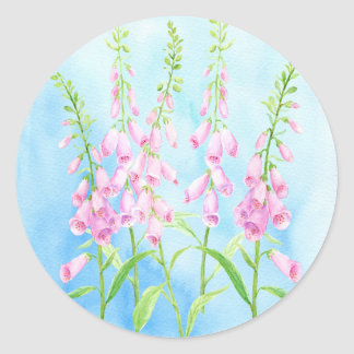 Watercolor Pink Foxgloves Classic Round Sticker