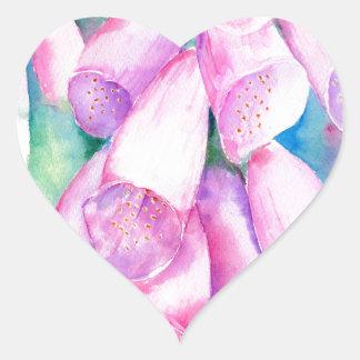 Watercolor pink foxgloves heart sticker