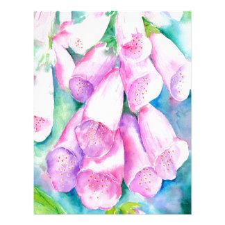 Watercolor pink foxgloves letterhead