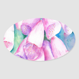 Watercolor pink foxgloves oval sticker