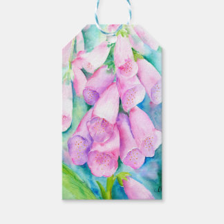 Watercolor pink foxgloves pack of gift tags