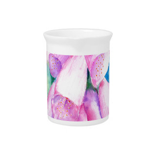 Watercolor pink foxgloves pitcher