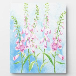 Watercolor Pink Foxgloves Plaque