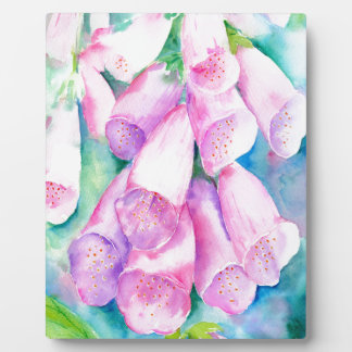 Watercolor pink foxgloves plaque