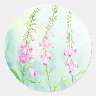 Watercolor Pink Foxgloves Round Sticker