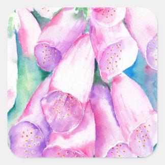 Watercolor pink foxgloves square sticker