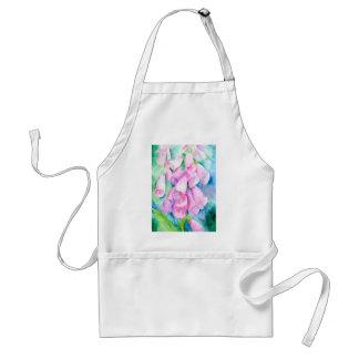 Watercolor pink foxgloves standard apron