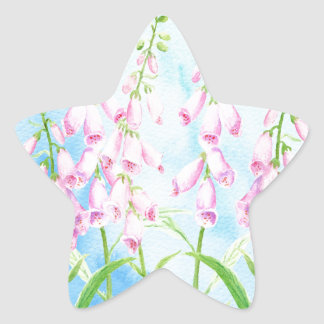 Watercolor Pink Foxgloves Star Sticker