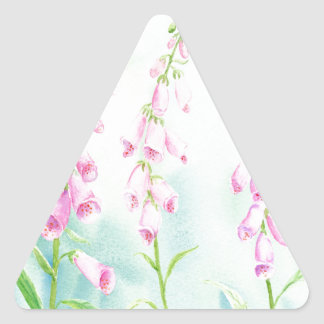 Watercolor Pink Foxgloves Triangle Sticker
