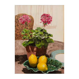 Watercolor Pink Geraniums with Lemons Still Life Acrylic Print