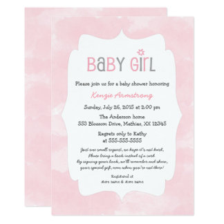 Watercolor Pink Girl Baby Shower + bring a book Card