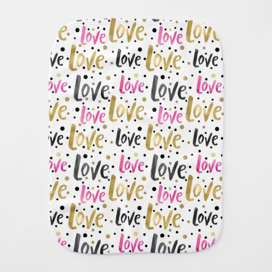 Watercolor Pink Gold Black Love Confetti Dots Baby Burp Cloths
