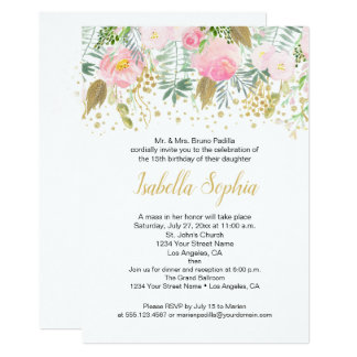 Watercolor Pink & Gold Roses Birthday Party Card