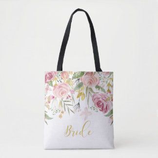 Watercolor Pink Gold Roses Greenery Bride Tote