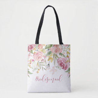 Watercolor Pink Gold Roses Greenery Bridesmaid Tote Bag